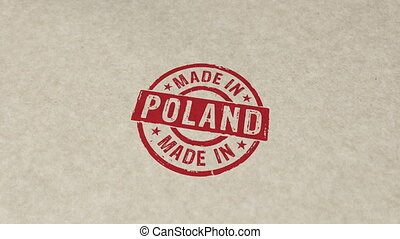 Made in Poland stamp and stamping animation