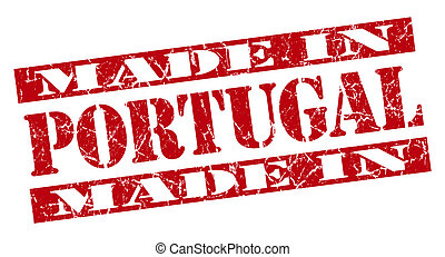 made in Portugal grunge red stamp