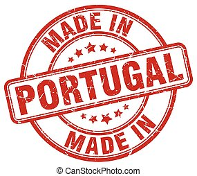 made in Portugal red grunge round stamp