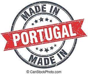 made in Portugal red round vintage stamp