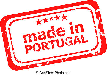 Made in portugal red rubber stamp