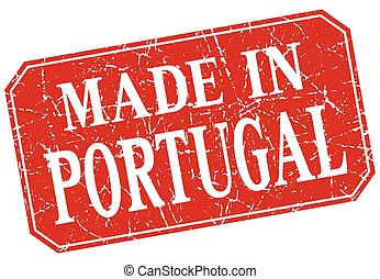 made in Portugal red square grunge stamp