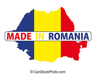 made in romania country national flag map shape with text