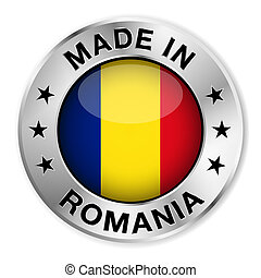 Made In Romania - Made in Romania silver badge and icon with...
