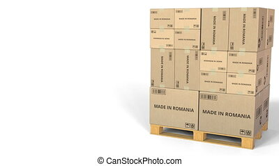MADE IN ROMANIA text on boxes on a pallet. Conceptual 3D...