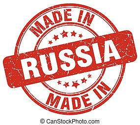 made in Russia red grunge round stamp