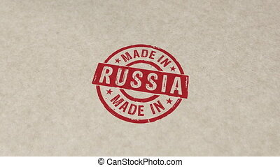 Made in Russia stamp and stamping animation