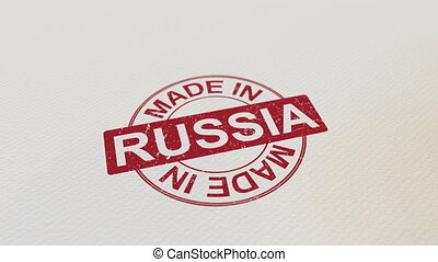 MADE IN RUSSIA wooden stamp conceptual animation. Alpha...