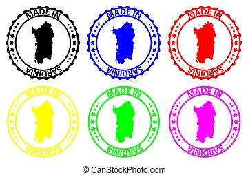 Made in Sardinia - rubber stamp - vector, Sardinia map...