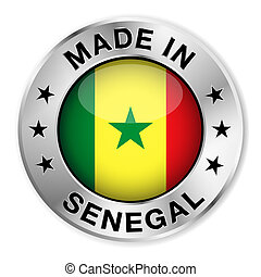 Made in Senegal silver badge and icon with central glossy Senegalese flag symbol and stars. Vector EPS 10 illustration isolated on white background.