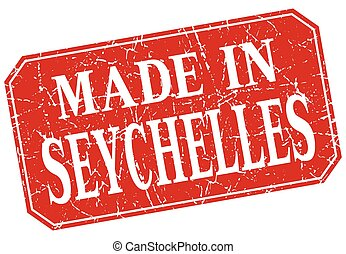 made in Seychelles red square grunge stamp