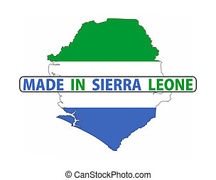 made in sierra leone country national flag map shape with text