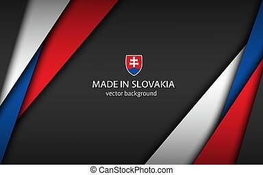 Made in Slovakia, modern vector background with Slovak colors, overlayed sheets of paper in the colors of the Slovak tricolor, abstract widescreen background