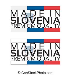 Made in Slovenia icon, premium quality sticker with Slovenian colors, vector illustration isolated on white background