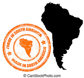 Made in South America - Abstract grunge stamp with the text...