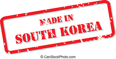 Made In South Korea Stamp - Red rubber stamp vector of Made...