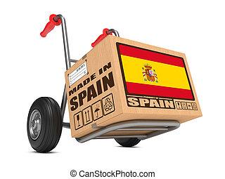 Made in Spain - Cardboard Box on Hand Truck. - Cardboard Box...