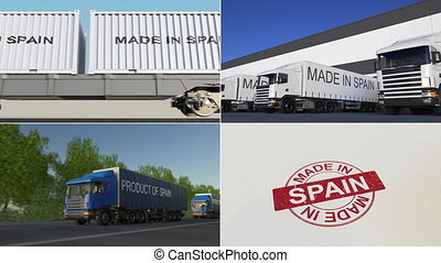 Made in Spain. Export or import conceptual montage animation