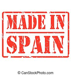 Made in spain red stamp text