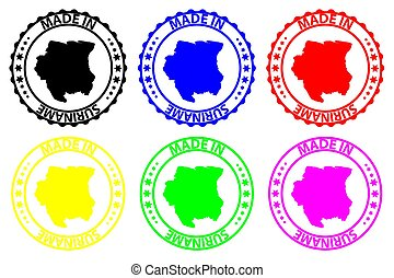 Made in Suriname - rubber stamp - vector, Suriname map...