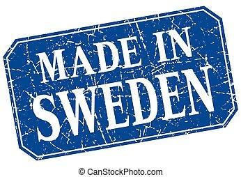 made in Sweden blue square grunge stamp