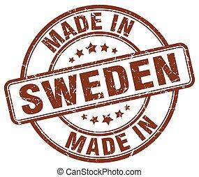 made in Sweden brown grunge round stamp