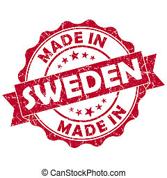 made in Sweden red grunge seal