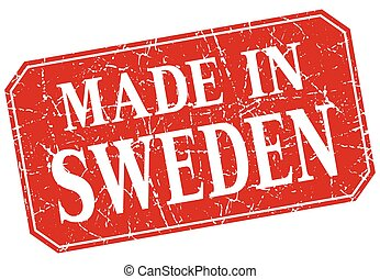 made in Sweden red square grunge stamp