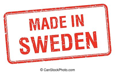 made in Sweden red square isolated stamp