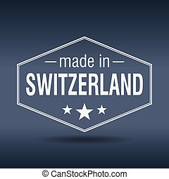 made in Switzerland hexagonal white vintage label