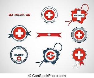 Made in Switzerland - set of seals, badges. Vector...