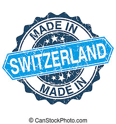 made in Switzerland vintage stamp isolated on white...