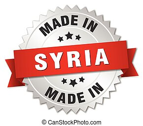made in Syria silver badge with red ribbon
