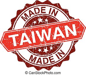 made in Taiwan red stamp isolated on white background