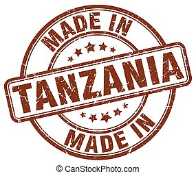 made in Tanzania brown grunge round stamp