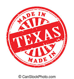 illustration of grunge rubber stamp with the text made in Texas written inside