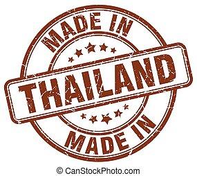 made in Thailand brown grunge round stamp