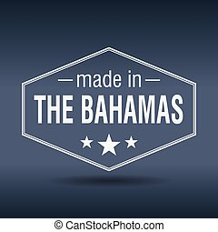 made in The Bahamas hexagonal white vintage label