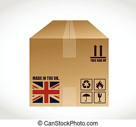 made in the uk shipping box. illustration