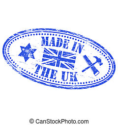 """Rubber stamp illustration showing """"MADE IN THE UK"""" text"""