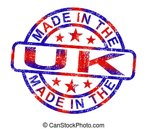 Made In The Uk Stamp Shows Product Or Produce From Britain -...