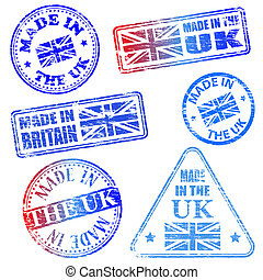 Made In The UK Stamps - Made in the UK. Rubber stamp vector...