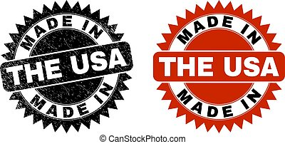 MADE IN THE USA Black Rosette Stamp Seal with Scratched Texture