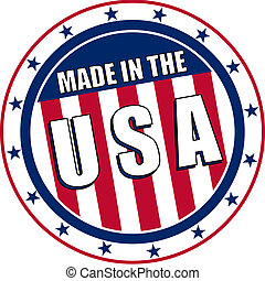 Circular Made in the USA stamp or sticker like decal.