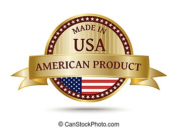 Made in USA golden badge and icon with the flag of the United States of America