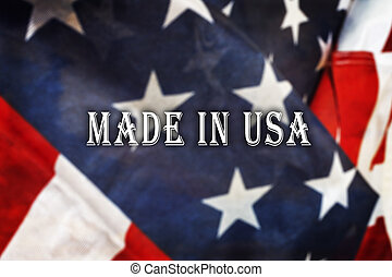 Made in the USA message on USA flag.
