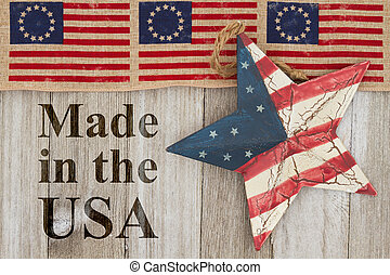 Made in the USA message, USA patriotic old Betsy Ross flag,...