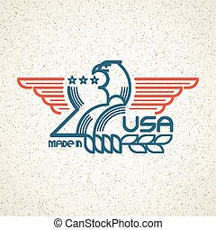 Made in the USA Symbol with American flag and eagle templates emblems. Vector illustration
