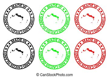 Made in Turks and Caicos Islands - rubber stamp - vector,...