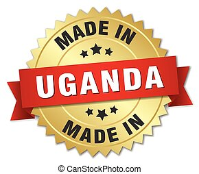 made in Uganda gold badge with red ribbon